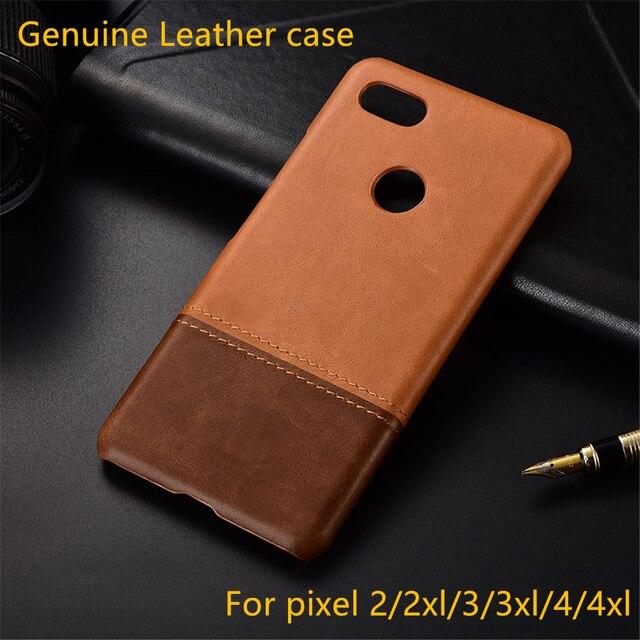 Funda de piel auténtica para móvil, funda trasera fina retro para google pixel 2 3 4 XL 3a 2xl 3xl 4xl