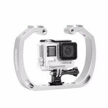 다이빙 수중 알루미늄 selfie monopod 마운트 더블 암 트레이 gopor 액션 카메라 홀더 핸드 헬드