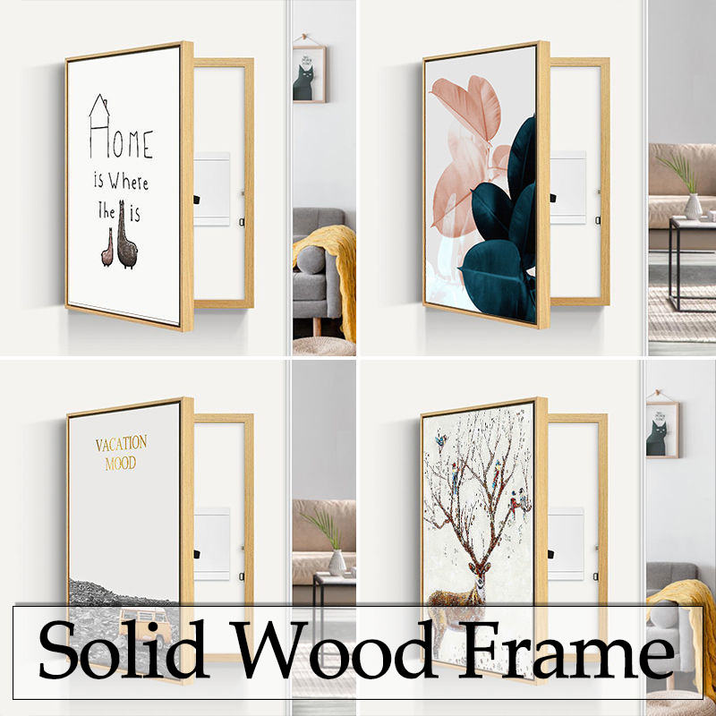 Poster decorativo mural lamina medidor de cobertura pintura moderna caixa elétrica escondido decorações para casa quarto decoração da parede arte imagens