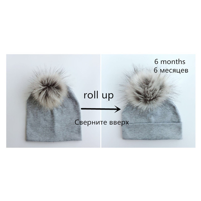Cotton hats pom pom newborn children's hats 3