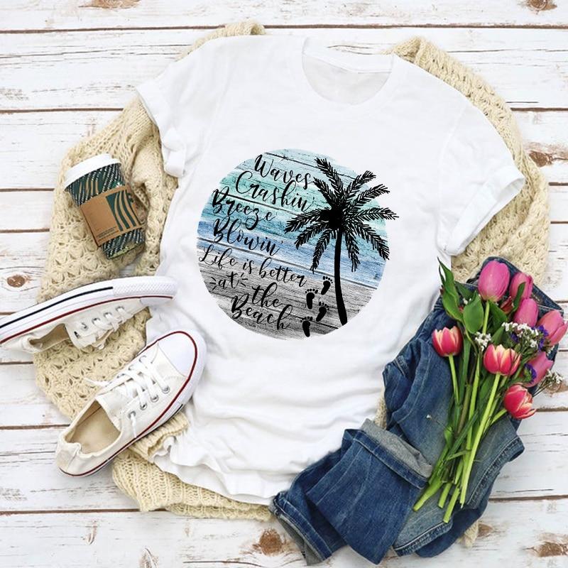 Women Graphic Beach Palm Tree Cute Casual Fashion Summer Shirt Tops Lady Clothes T-Shirt Womens Clothing Tee Female T Shirt
