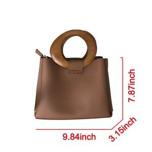 Image 5 - Casual Wooden Top handle Handbags Womens Shoulder Bags Pu Leather Ladies Hand Bags Famous Brands Women Handbags 2020 Hots Bolsa