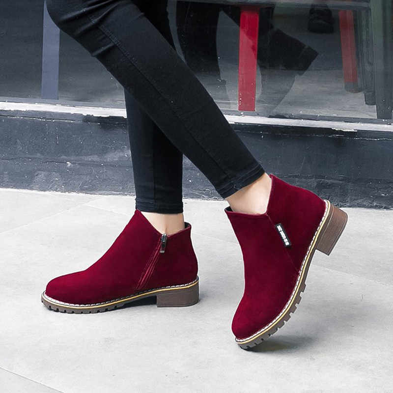 NEW Women Martin Boots Autumn Winter Boots Classic Zipper Snow Ankle Boots Winter Suede Warm Fur Plush Women Shoes 35-40