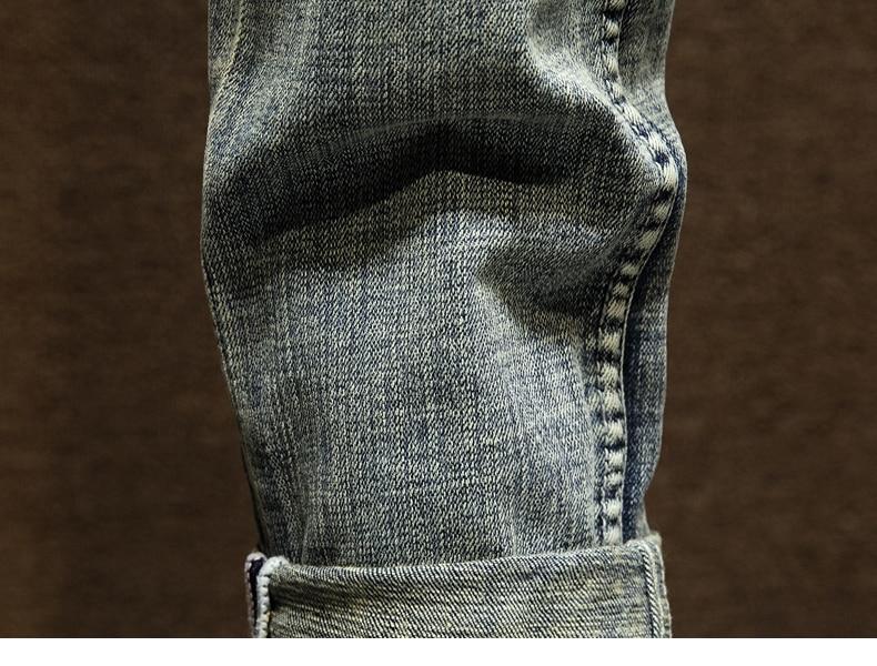 KSTUN American Streetwear Fashion Men Jeans Retro Blue Slim Fit Elastic Ripped Jeans Men Destroyed Denim Pants Printing Hip Hop Jeans 18