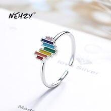 NEHZY 925 de plata esterlina mujer nueva moda de alta calidad de joyería arcoíris cristal circonita corazón anillo de tamaño ajustable, anillo