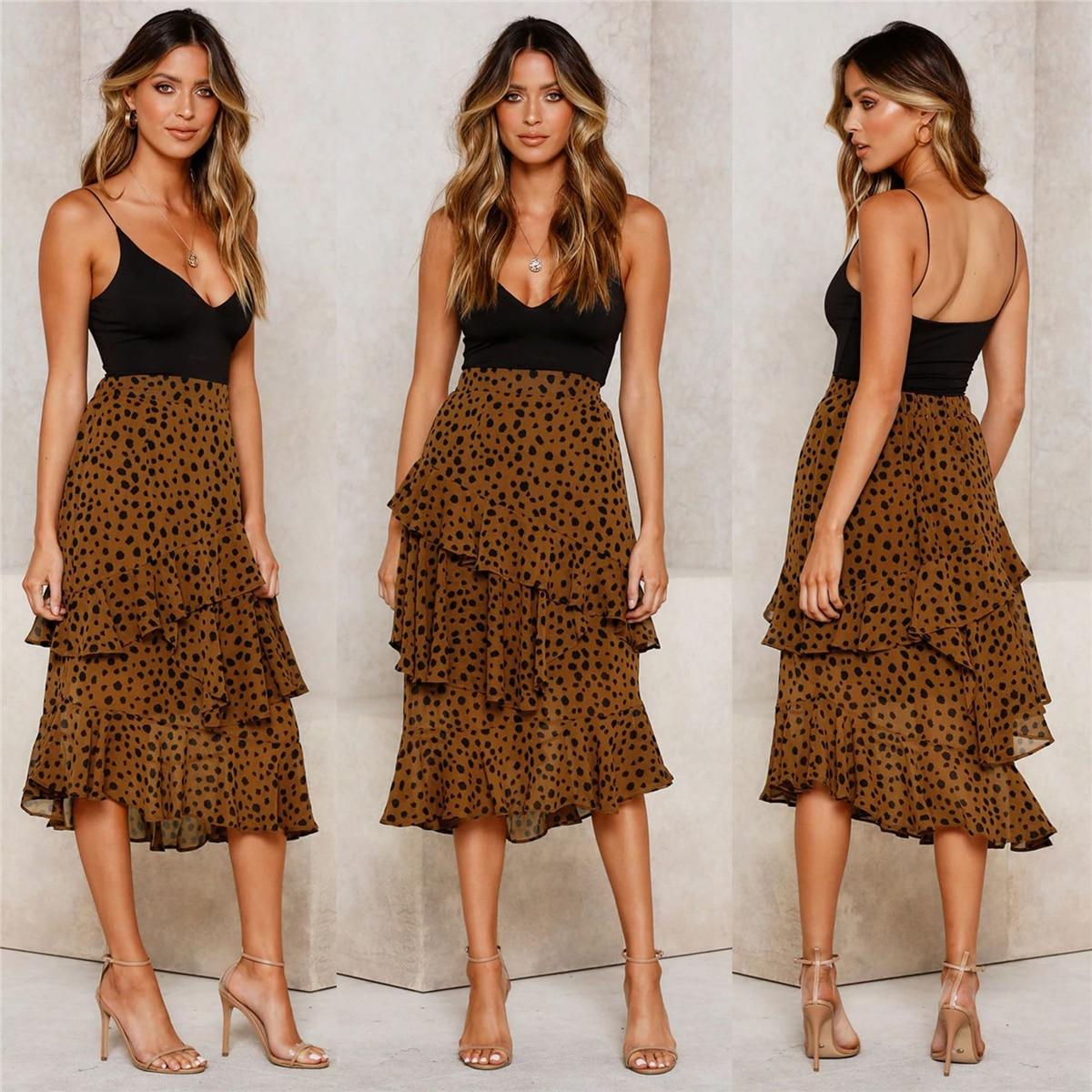 Hirigin Autumn Winter Fashion Leopard Ruffle Long Skirts Women Casual Chic Asymmetry Clothes Lady Beautiful Party Skirt