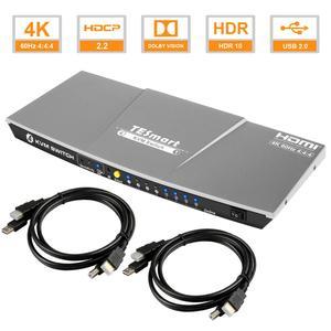 Image 1 - HDMI KVM Switch4x1 3840x2160 @ 60 Гц 4:4:4 с 2 квм кабелями 5 футов Поддержка USB 2,0 управление устройствами