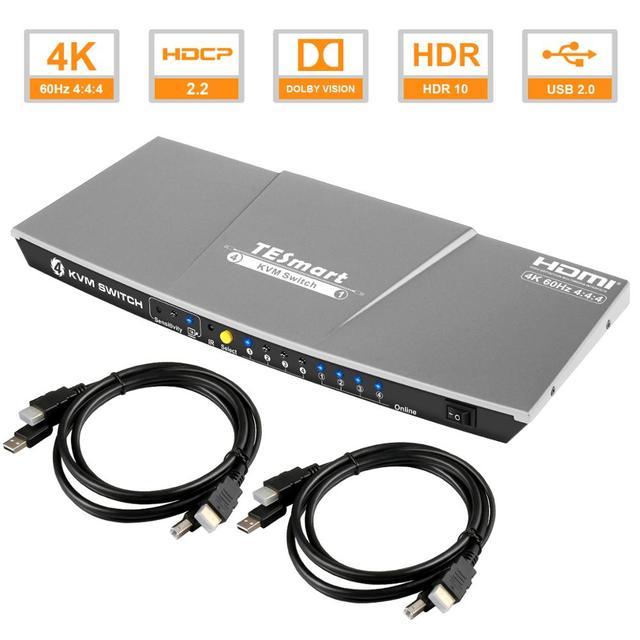 HDMI KVM Switch4x1 3840x2160 @ 60Hz 4:4:4 avec 2 pièces 5ft KVM câbles prend en charge le contrôle de lappareil USB 2.0