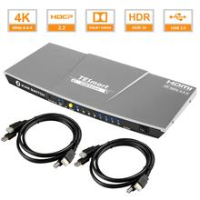 HDMI KVM Switch4x1 3840x2160@60Hz 4:4:4 with 2 Pcs 5ft KVM Cables Supports USB 2.0 Device Control up