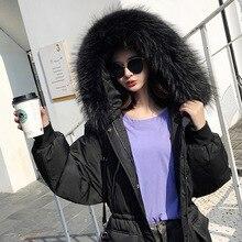 Winter Female Duck Down Jacket + Natural Raccoon Fur Thick Warm Women's