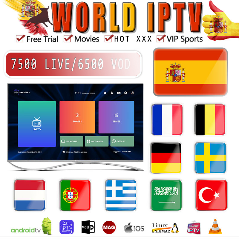 1 Year Europe US UK Brazil Poland Spain Fr IPTV Subscription 7500+Live Fce HD IPTV M3u Enigma2 Vod Sports Adult Free Test