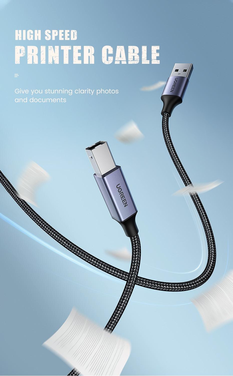 Ugreen USB 2.0 Printer Cable Type B Male to Type A Male - Black - 3M Pakistan Brandtech.pk
