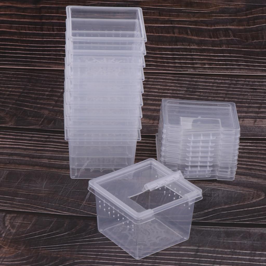10x caixa de alimentação réptil gaiola incubação recipiente tanque de criação limpar réptil vivarium terrário