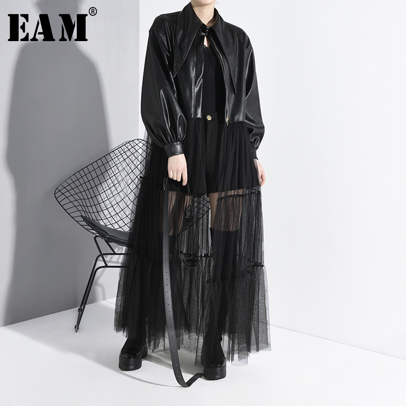 [EAM] Loose Fit Black Mesh Pu Leather Split Big Size Jacket New Lapel Long Sleeve Women Coat Fashion Tide Spring 2020 1M00201