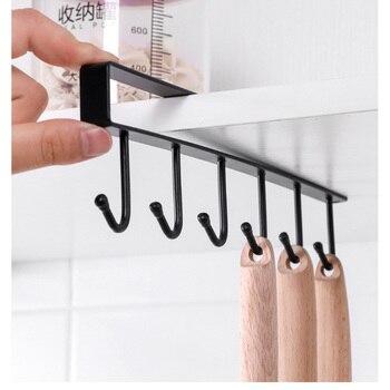 Kitchen Hanger Iron Hooks Shelf Free Of Punch Rack Multifunction Hanger For Kitchen Gadgets Cabinet Cupboard Dish Organizer 1