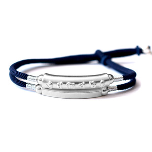 Image 5 - Handmade Braided Bracelet For Men 999 Sterling Silver Om Mani Padme Hum Engraved Bend Charm Double Layers Lucky Rope Chain