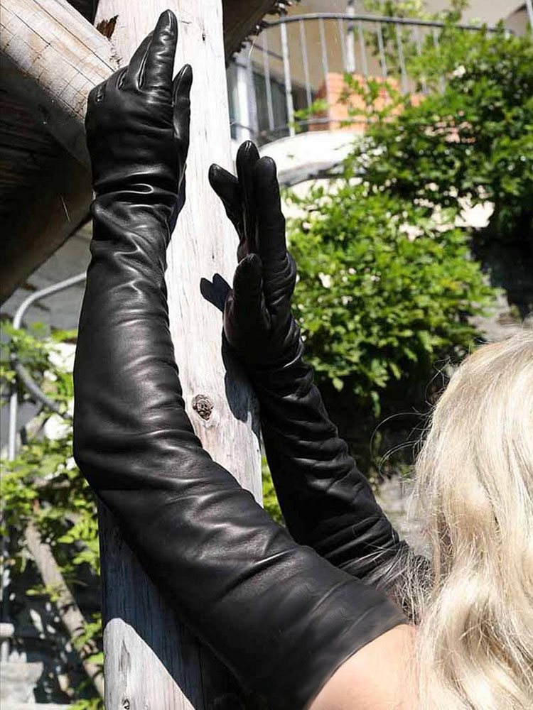Lady Real Sheep Leather  Super Long Shoulder Long Leather Gloves Black