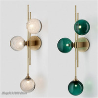 Scandinavian Design Ball Glass Wall LampS American minimalist living room blue glass wall light Home Decor LED Lighting Fixtures