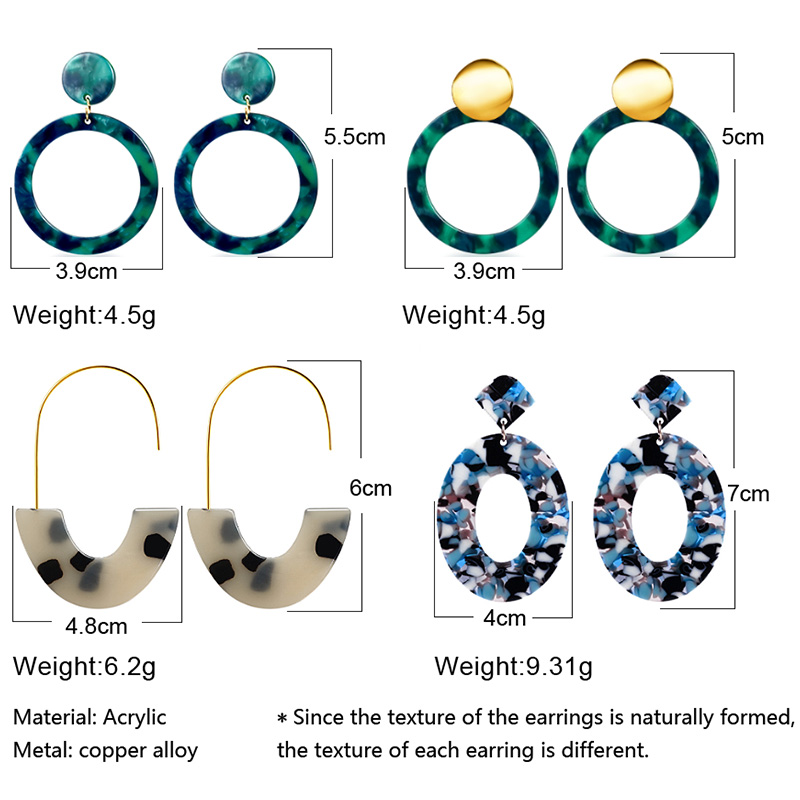 Geometric Acrylic Fashion Statement Drop Earrings For Women Vintage Resin Oval Round Dangle Earring 2020 Brincos Wedding Jewelry