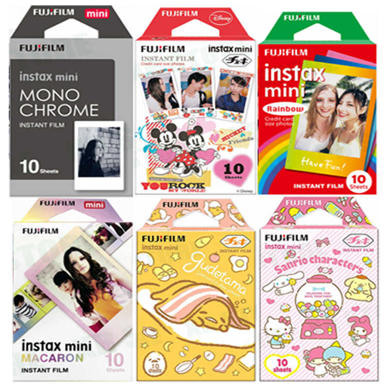 10 fogli Fuji Fujifilm instax mini 9 8 white Edge film Fims a colori per instax camera monocromatico Rainbow Macaron cartoon