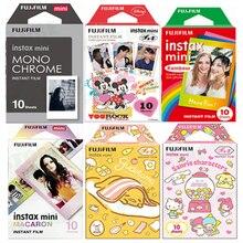 10 fogli Fuji Fujifilm instax mini 11 9 8 pellicole con bordi bianchi Fims a colori per instax camera monocromatico arcobaleno Macaron cartoon