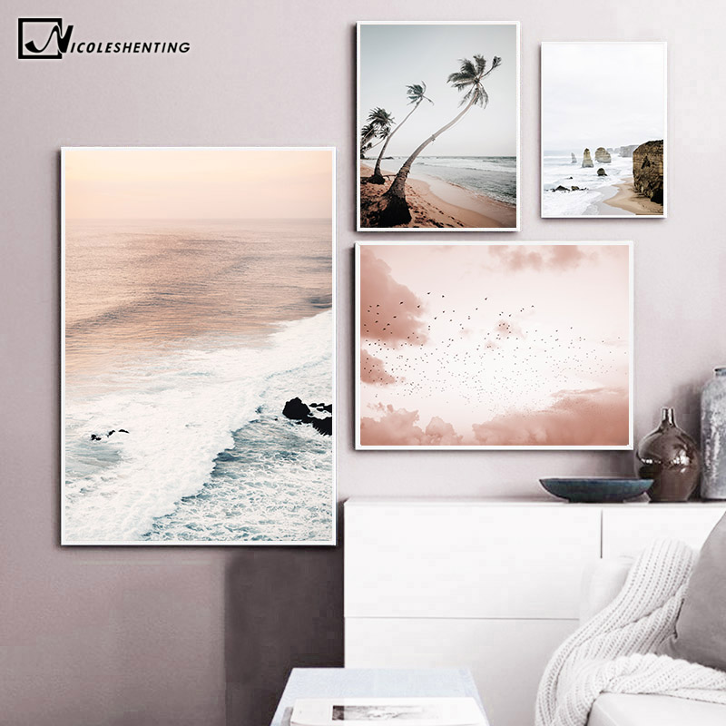 Coastal Sunrise Nature Scenery Wall Poster Nordic Canvas Art Print Sky Sea Sunset Painting Landscape Scandinavian Decor Picture