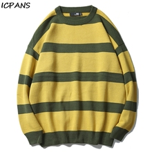 ICPANS Mens O Neck Sweater Pullovers Harajuku Stripes Japanese Style Vintage Loose Pullover Red