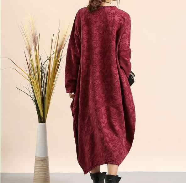 فستان كلاسيكي خريفي وشتوي برعم رمادي RedRobe فام Ete 2020 مطبوع عرقي كم طويل قطن كتان ملابس نسائية L168