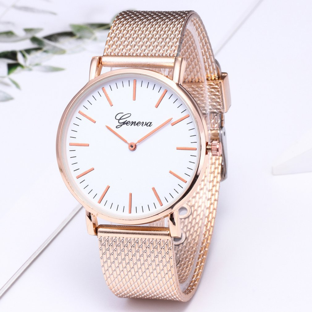 Fashion Casual Watches Womens Men Classic Quartz Stainless Steel Wrist Watch Bracelet Watches Black White Dial Case 2019