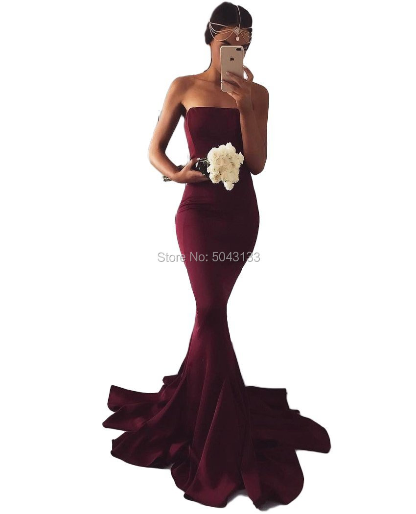 Long Burgundy Simple Satin Mermaid Bridesmaid Dresses Off Shoulder Prom Bridesmaid Gowns For Wedding With Train 2020 Vestidos