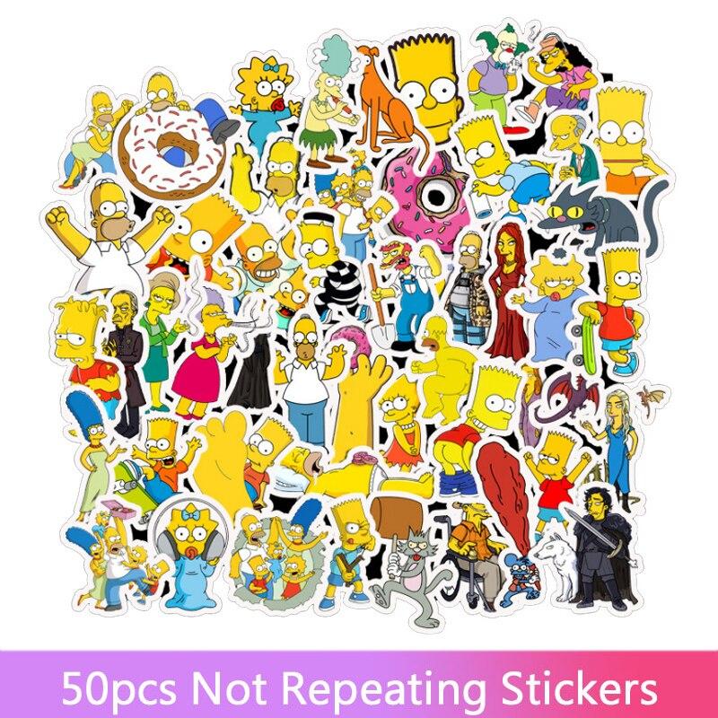 50 adet/takım komik Anime karikatür Simpsons Graffiti çıkartmalar araba için Moto bavul serin dizüstü çıkartmalar çocuklar Sticker çıkartmalar oyuncaklar