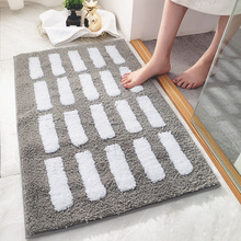 Simple Striped Thicken Flocked Floor Mat Doormat Household Home Bathroom Toilet Absorbent Non-slip Foot Pad pebble series flannel printing home anti slip absorbent entry mat bathroom mat door mat bedside mat