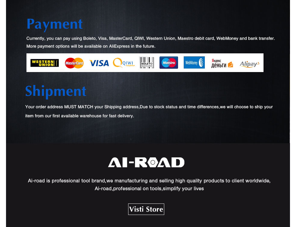 AI-ROAD payment methods
