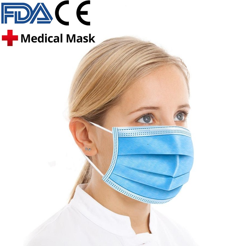 Fast Delivery Hot Sale 3-layer Mask 10/400pcs Face Mouth Masks Non Woven Disposable Anti-Dust Masks Earloops Masks