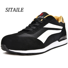SITAILE Steel Toe Work Safety Shoes Women Breathable Indestructible Men Puncture-Proof Boots Sneakers Plus
