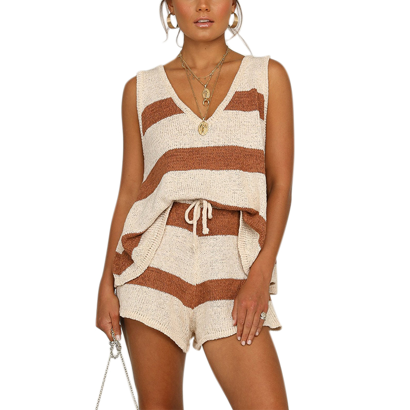 VICABO Women Set Striped V Neck Tank Top And Shorts Summer Clothes Set 2 Pieces Set Fashion 2020  Women Clothing