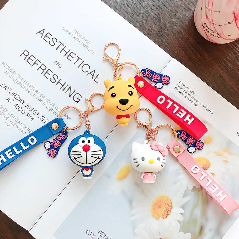 Mode Niedlichen Hallo Kitty KT Katze keychain Cartoon bär puppe schlüsselanhänger für Frauen tasche Charme anhänger auto schlüsselring mädchen Kinder spielzeug Geschenk