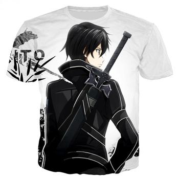 Letnia wyprzedaż 3D Print męska koszulka Anime Sword Art Online Kirito Unisex Casual T Shirt hiphopowy sweter w stylu topy tanie i dobre opinie SHORT CN (pochodzenie) POLIESTER Cztery pory roku Na co dzień Z okrągłym kołnierzykiem tops Z KRÓTKIM RĘKAWEM Regular