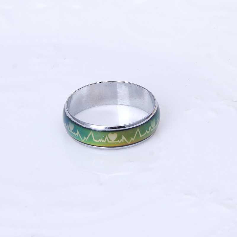 Amantes coração ecg humor anel cor temperatura mudando magia casamento anéis w2952001