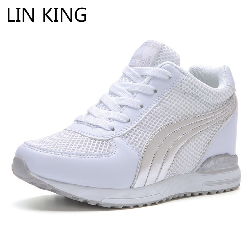 LIN KING New Style Women Platform Shoes High Top Outdoor Casual Shoes Woman Lace Up Height Increase Shoes Girls Wedges Sneakers