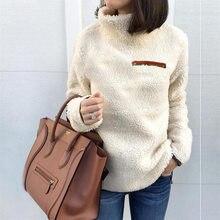 Zimowy sweter damski bluza polarowa sweter z długim rękawem tunika z golfem