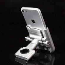 Hợp Kim nhôm Xe Máy Tay Cầm Giá Đỡ Điện Thoại Gắn Kính Chiếu Hậu Sạc USB Cho iPhone X R Hỗ Trợ Điện Thoại Moto Giá Đỡ