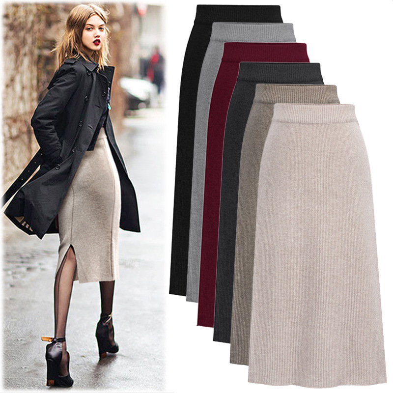 Knit Skirts Womens Long Long Skirt Large Size Autumn And Winter Winter Skirt High Waist Maxi Skirt