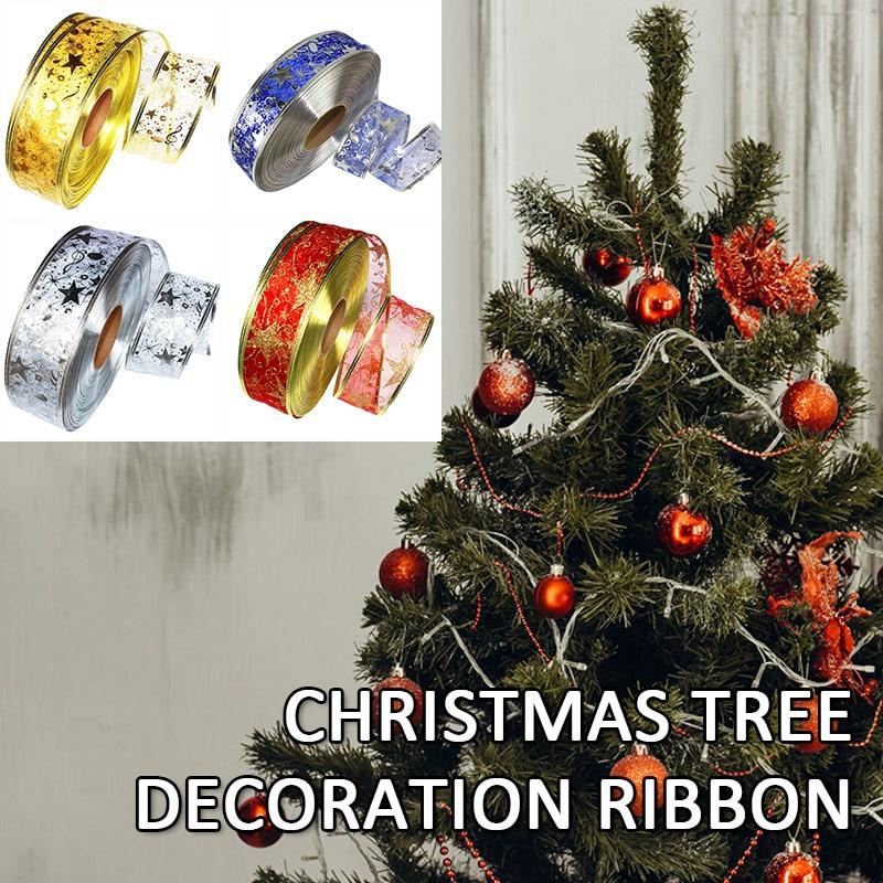 Рождественская лента 2 м бронзовая со звездами украшение для