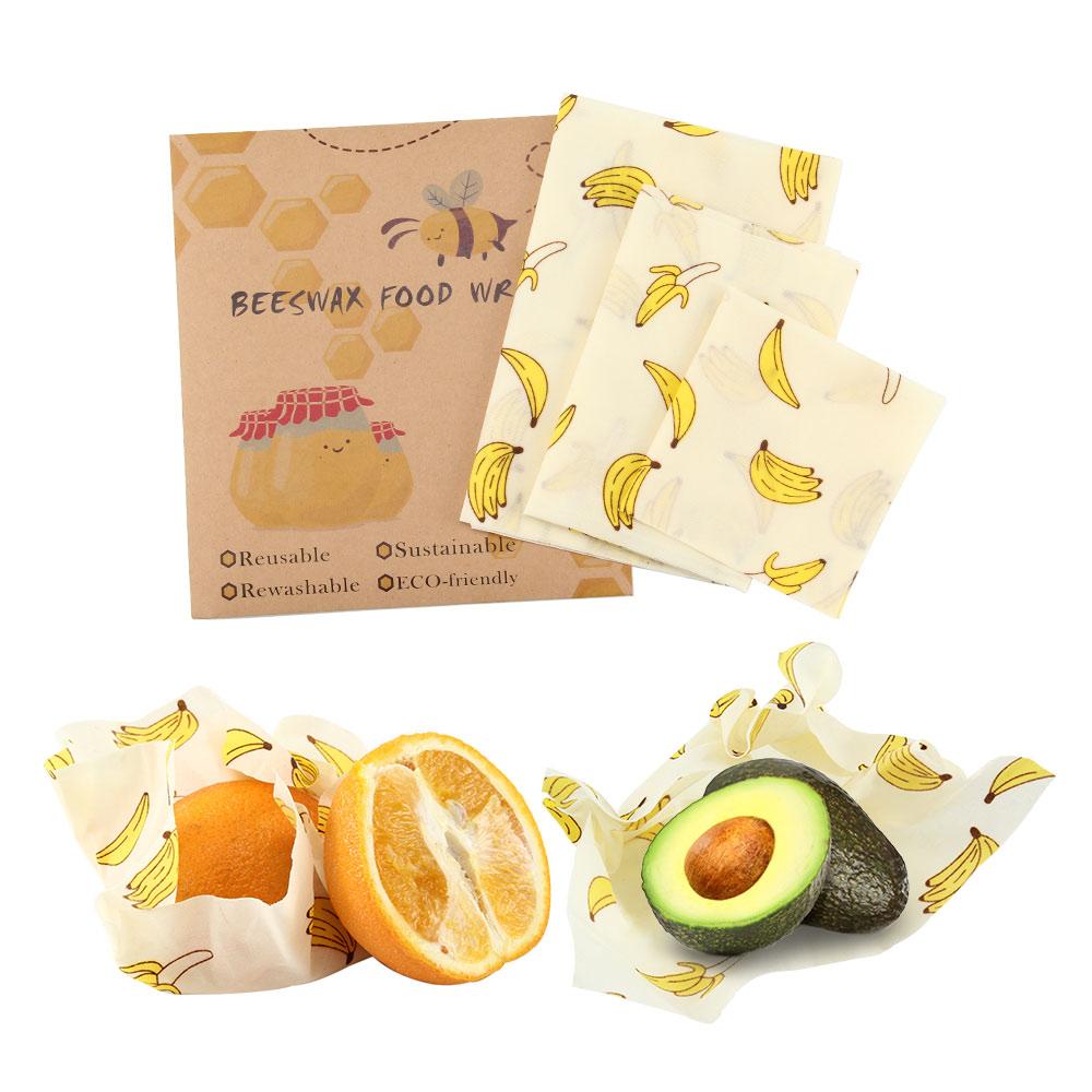 3Pcs/set Zero Waste Reusable Food Beeswax Cloth Wrap Fresh Bag Sandwich Silicone Seal Storage Kitchen Gadgets