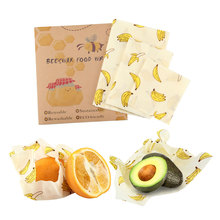 3Pcs/set Zero Waste Reusable Food Beeswax Cloth Wrap Fresh Bag Sandwich Silicone Seal Storage Kitchen Gadgets