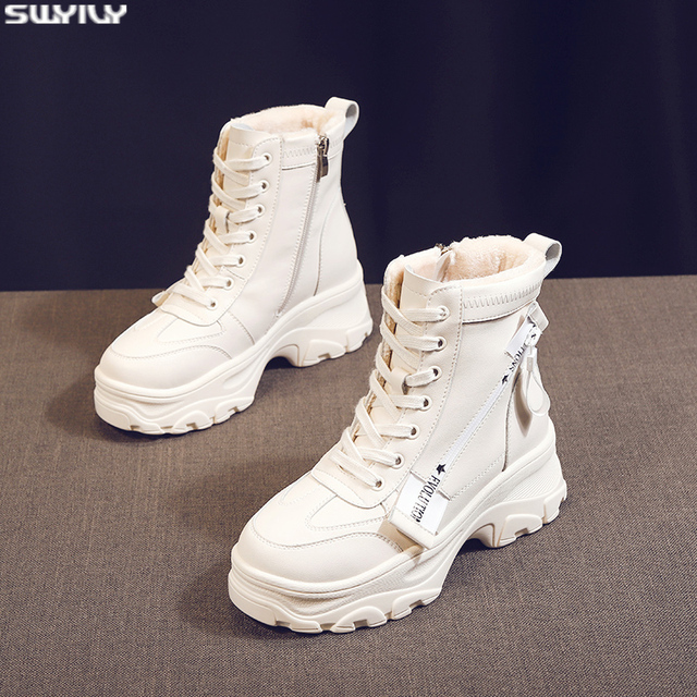 SWYIVY 흰색 신발 겨울 따뜻한 스니커즈 여성 스노우 부츠 벨벳 모피 겨울 2019 여성 발목 부츠 플랫폼 인과 신발 모피