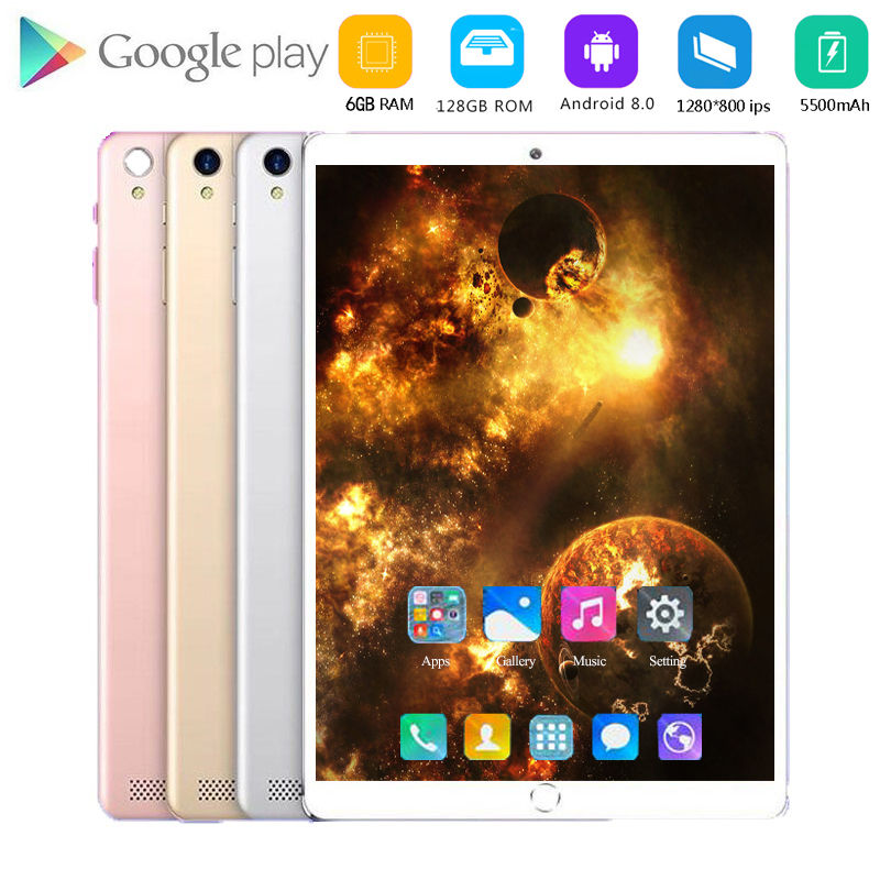 128GB Android 8.0 Tablet Octa Core 4G Multi-touch Scree IPS 5MP SIM Card Ips Tablet 10 Inch Android Tablet Pc Car Holder MTK6753