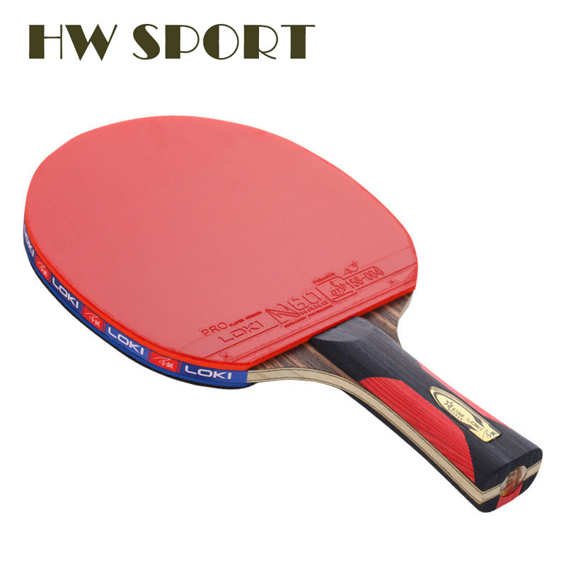 LOKI 6 Star Table Tennis Racket Ping Pong Racket Carbon Fiber Blade Bat Loop Pimples In Rubber With Pingpong Bag Kalemlik