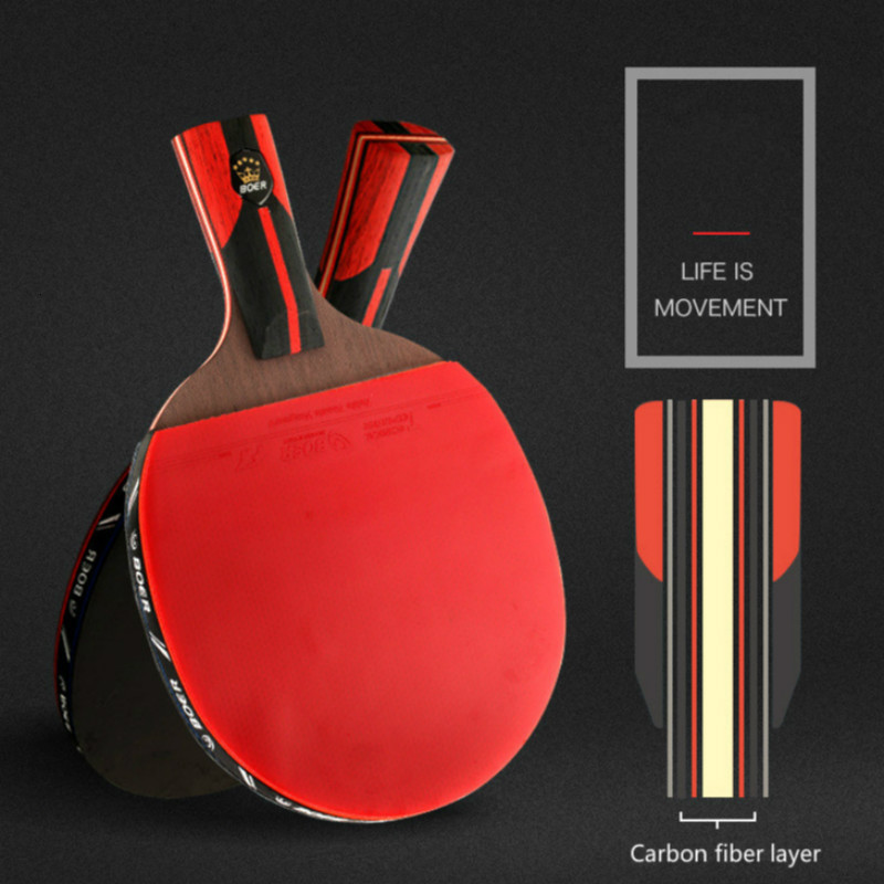 6 Star Table Tennis Racket Blade Wood Carbon Fiber Blade Ping-Pong Racket Bat 7 Layers Horizontal Grip Straight Grip Paddle 1PC